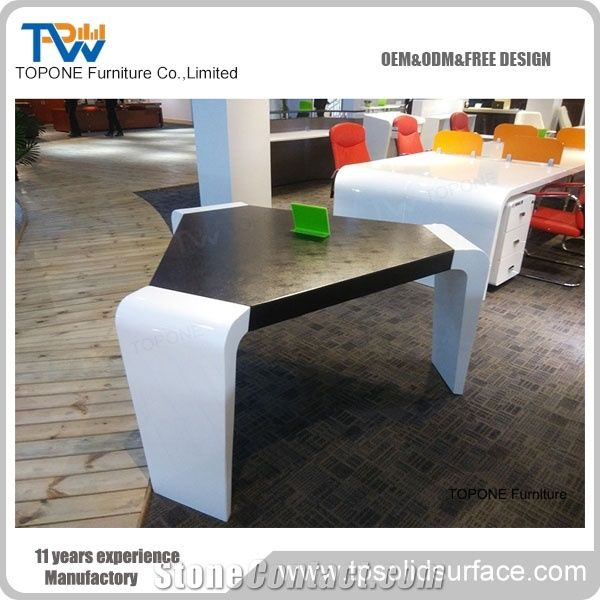 Artificial Marble Stone White And Black Jiont Seats Conference - Stone conference table