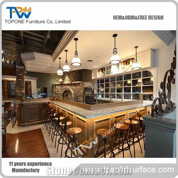 L Shaped Wooden Lighted Home Bar Counter Design With Artificial Marble  Stone Bar Table Tops With Acrylic Solid Surface
