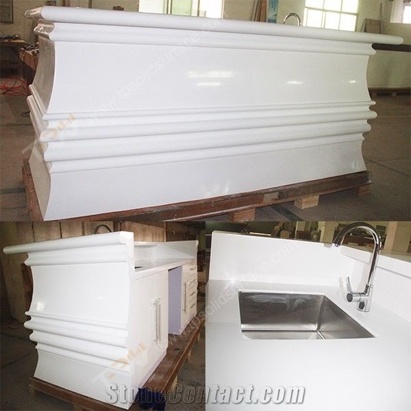 White Marble Stone Full Bull Nose Design Bar Counter With Acrylic Solid Surface Table Tops