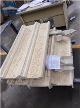 Cream Marfil Marble Wall Relief,Crema Marfil Standard Border Line Carvings,Pacific Marfil Engraving Skirting,Hand Carved Marble Wall Relief,Church Wall Etching,Marble Border Trim Shadow,Embossments