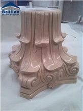 Golden Beige Marble Colum,Sunny Gold Marble Colum,Beige Marble Colum/Marble Column Pillars Caps, Beige Marble Architectural Columns,Marble Pillar Top,Stone Carving,Temple Colum,Lobby Colum