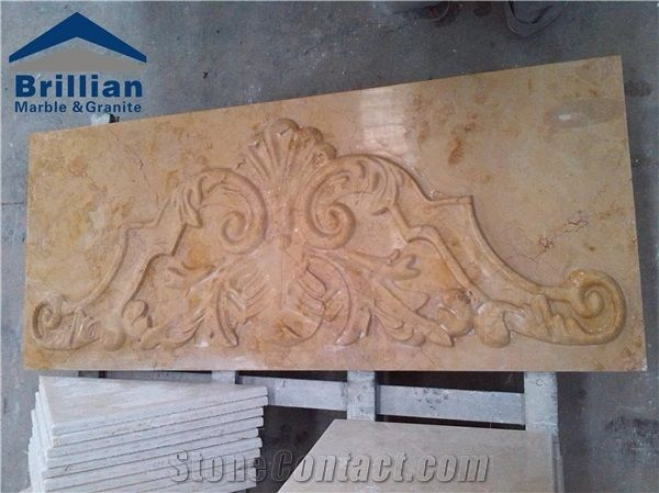 Golden rose marble wall reliefs polished marble engravings beige