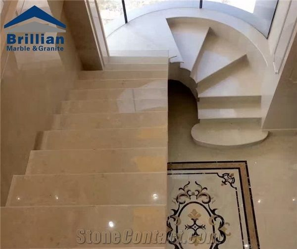 Ottoman Beige Marble Steps Polished Marble Stair With Anti