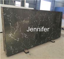 Black Color Calacatta White Series Quartz/Quartz Stone/Quartz Surfaces/Quartz Stone Slab/Cut-To-Size Quartz Tiles/Marble Like Quartz/Veined Quartz
