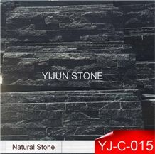Black Quartzite Strips Wall Panel, Factory Supply, Hebei Split Surface Cultured Stone, Wal Cladding