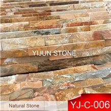 Rusty Slate Culture Stone, Hebei P014 Surface Wall Cladding, Yellow Wood  Slate Wall Panel