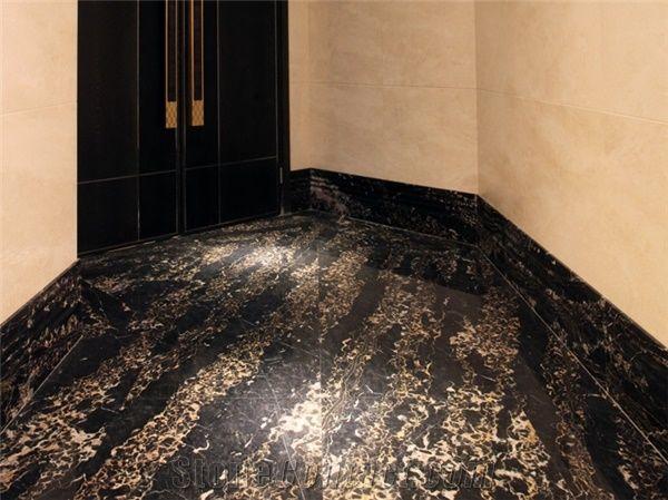 Portoro Black Slab Block Golden Black Marble Tiles Natural