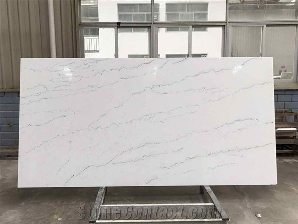 Calacatta Marble Look Quartz Stone Slab Thin Vein For Kitchen And