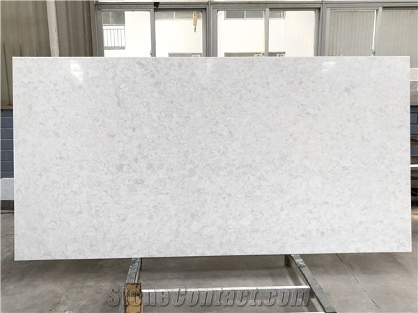 Marble Series White Cloud Quartz Stone Slab Ot 0105 For