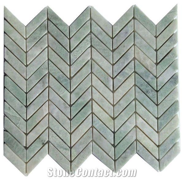 green stone tile herringbone mosaic ming green natural