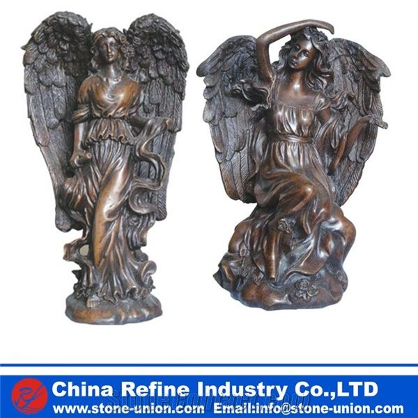 Life Size Angel Bronze Statue , Large Bronze Statues For Sale ,Large Bronze  Outdoor Angel Statue Sculpture For Sale