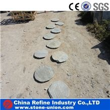 Natural Slate Stepping Stone, Garden Stepping Stone , Tumbled Stone , Round Stepping Stone