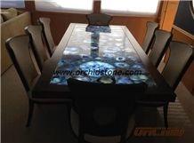 Blue Agate Countertop /Blue Agate Gemstone Table / Blue Agate Semi Precious Stone Panels/Blue Semiprecious Stone Office Table Tops