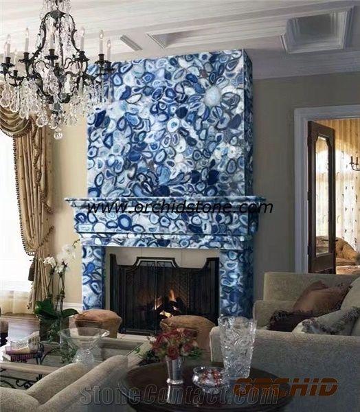 Blue Agate Semi Precious Fireplace Mantel Hearth Surround