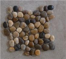 Mix Polished Pebble Meshed Tiles, River Stone