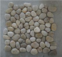 White Polished Pebble Meshed Tiles, River Stone