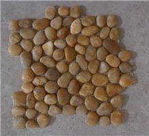 Yellow Polished Pebble Meshed Tiles, River Stone