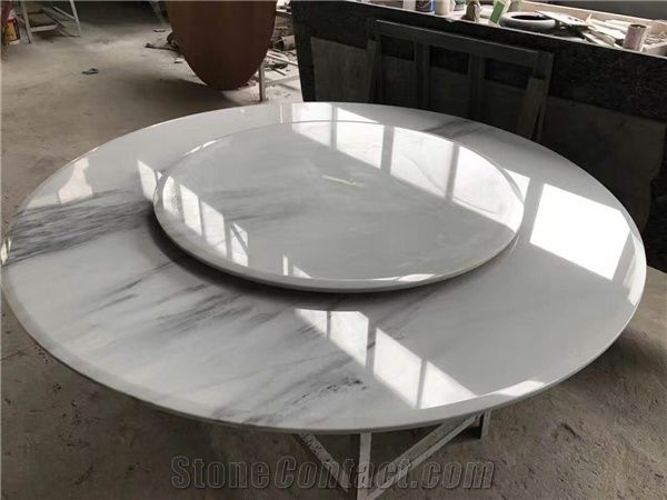China White Marble Dining Table Top, Marble Round Table Top