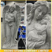 China Light Grey G633 Granite Cemetery Angel Statue with a Baby