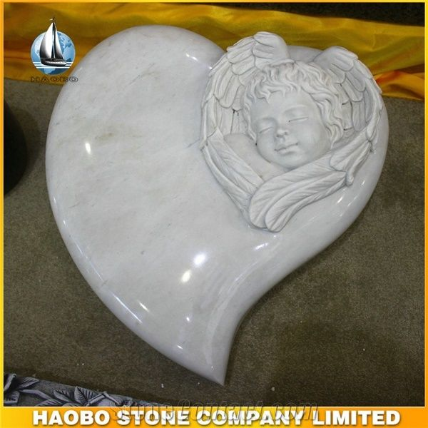 White Marble Baby Angel Heart Shaped Headstones From China
