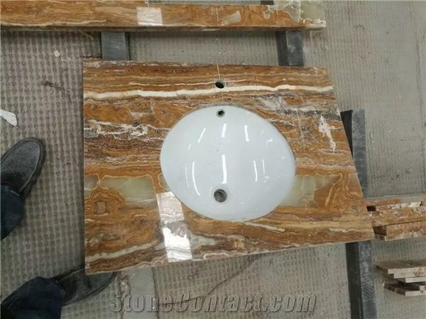 Bamboo Onyx Countertops, Yellow Onyx Bathroom Vanity Tops