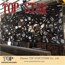 Decorative Stone Semiprecious Black Agate Stone Slab