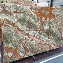 Imported Hot Sale Natural Stone Ancient Dark Green Onyx for Private Villa Exterior Decoration