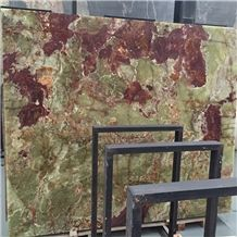 Onyx Slabs Wall Background Multicolor Green Onyx