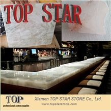 White Gemstone Translucent Semi Precious Stone Table Top