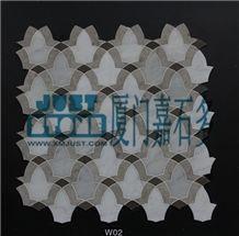 Grey Foussana Limestone Mosaic-Waterjet Type-W02