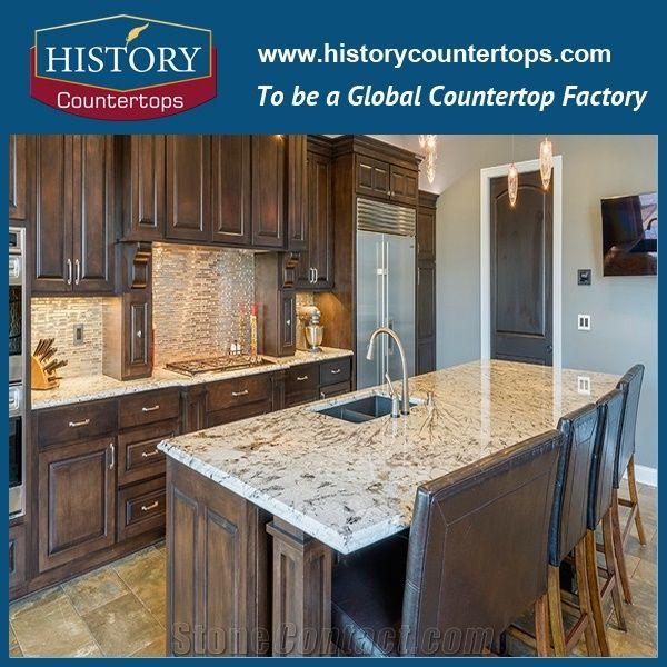 Arctic Cream or Ice Blue Granite Prefab Kitchen Countertops ...