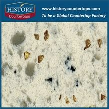 Chinese Amazon Quartz Series, Like Natural Granite Surface,Gold Star,Top Grade,China Quartz Stone Manufacturer,Hot Selling Polishing White Quartz Tile and Slab for Wall and Floor