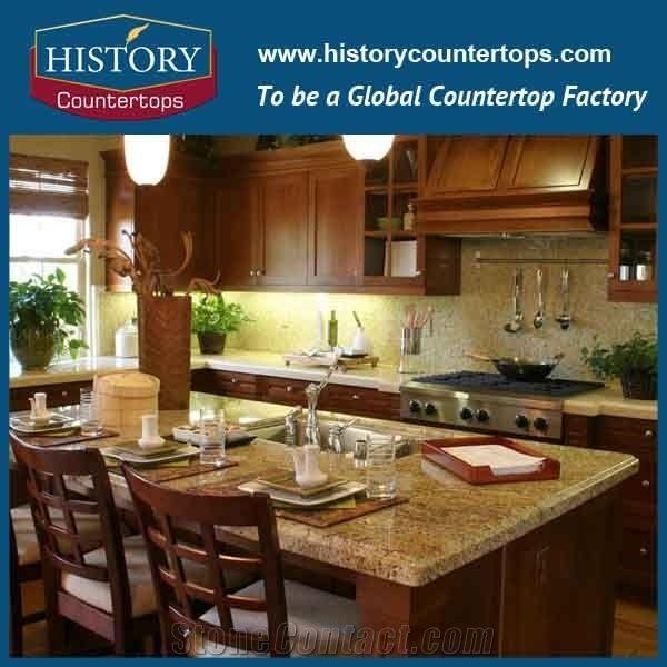 India Kashmir Golden Granite Kitchen Desk Tops Color