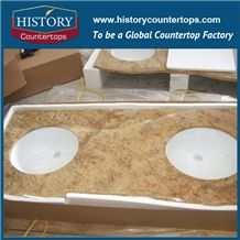 Kashmir Gold Granite Counter Top Materials from India, Granite Polishing Solid Surface with High Quality & Cheap Good Option for Bath Countertops