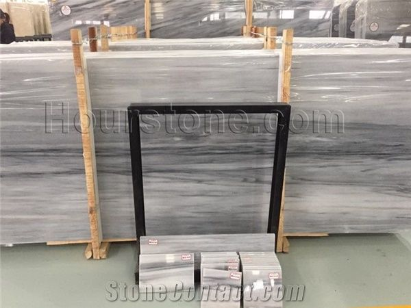 China Snow Wood Marble Tiles Snow Grey Cross Cut High Polished