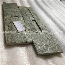 China Green Quartzite Stacked Stone Veneer Wall Cladding Ledge Stone Panel Split Face Tile Landscaping Interior & Exterior Feature Wall Culture Stone 35x18cm