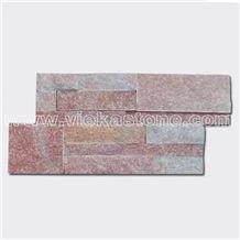 China Rosa Peach Quartzite Stacked Stone Veneer Feature Wall Cladding Panel Ledge Stone Split Face Mosaic Tile Building Landscaping Interior & Exterior Decor Natural Culture Stone 35x18cm
