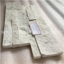 China Snow White Quartzite Stacked Stone Wall Cladding Panel Ledge Stone Split Face Tile Landscaping Interior & Exterior Culture Stone 35x18cm