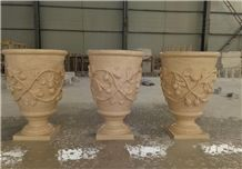 Hand Carved Beige Marble Plant Pot