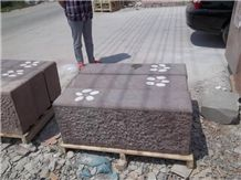 Beatiful Whole Lilac Color Cuboid Sandstone Bench, Purple Sandstone Chair with White Flower Design on the Top, Sandstone Benches for Garden Decoration Outside,Exterior Street Furniture