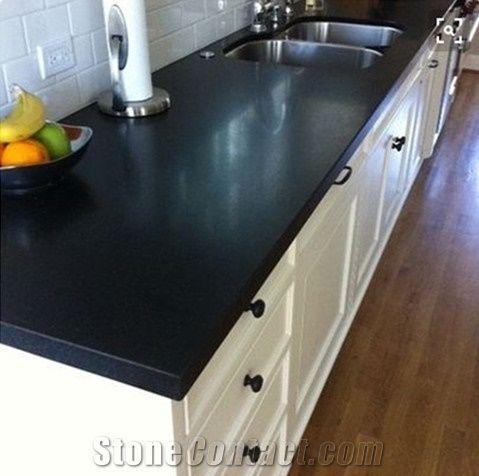 Black Galaxy Quartz Kitchen Countertops Shinning Black