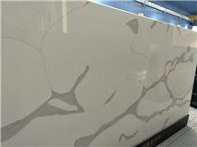 Calcutta White -A Quartz Slab, Calacatta White Series Quartz Stone, Marble Veined Quartz, Quartz Surfaces, Cut-To-Size Quartz Tiles