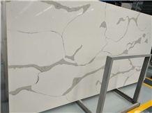 Calcutta White -D Quartz Slab, Calacatta White Series Quartz Stone, Marble Veined Quartz, Quartz Surfaces, Cut-To-Size Quartz Tiles
