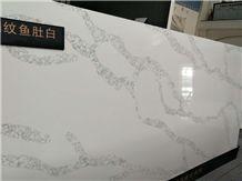 Calcutta White -Net Vein Quartz Slab, Calacatta White Series Quartz Stone, Marble Veined Quartz, Quartz Surfaces, Cut-To-Size Quartz Tiles