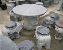 Cartoon Design White Granite Outdoor Garden Stone Round Tables and Animal Benches,Stone Table Sets