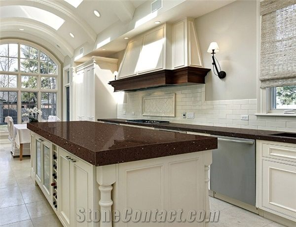 Crystal Dark Brown Quartz Kitchen Countertops Quartz