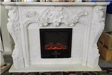 Fangshan White Marble Fireplace Mantel, Handcarved Flower Sculptured Fireplace, Indoor Sculptured Stone