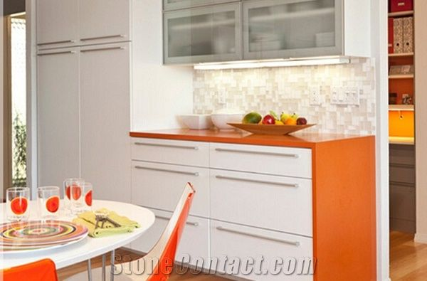 Pure Dark Orange Quartz Kitchen Cabinet Tops Quartz Worktops