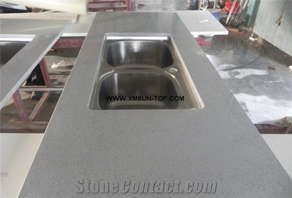Stone Kitchen Countertop With Stainless Steel Sink Artificial Quartz Counter Top Engineered Countertops Custom Manmade