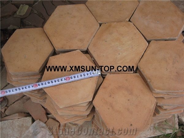 Handmade Terracotta Red Tiles Ceramic Tile Antique Hexagon Shape Floor Pavers
